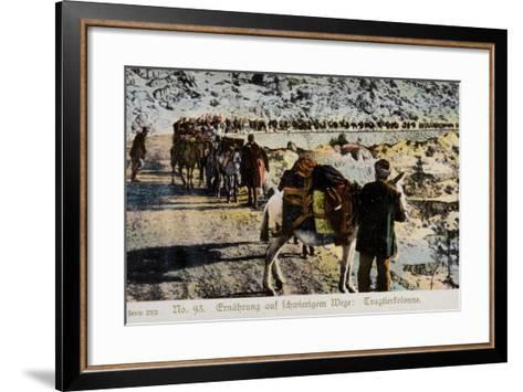 Mule Train on a Mountain Road--Framed Art Print
