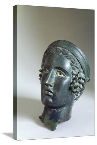 Male Head with Helmet, Bronze from Cagli--Stretched Canvas Print