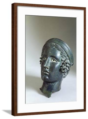 Male Head with Helmet, Bronze from Cagli--Framed Art Print