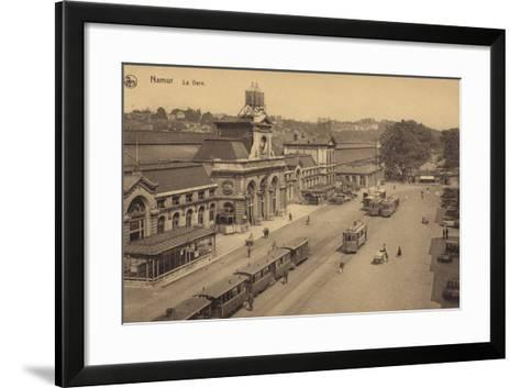 Postcard Depicting the Railway Station in Namur--Framed Art Print