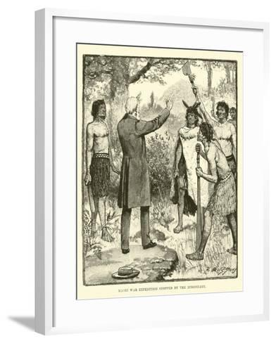 Maori War Expedition Stopped by the Missionary--Framed Art Print