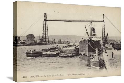 Postcard Depicting the Rouen Transporter Bridge--Stretched Canvas Print