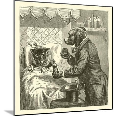 Dog Giving Pills to Sick Cat--Mounted Giclee Print