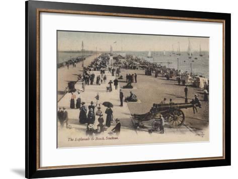 The Esplanade and Beach, Southsea--Framed Art Print