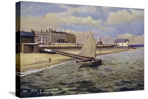 The Jetty and Lighthouse, Fleetwood--Stretched Canvas Print