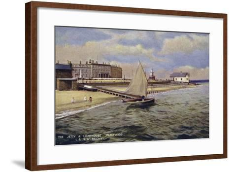 The Jetty and Lighthouse, Fleetwood--Framed Art Print