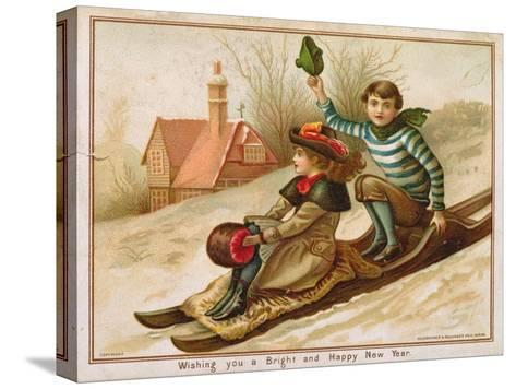 Young Girl and Boy Tobogganing, Victorian Christmas and New Year Card--Stretched Canvas Print
