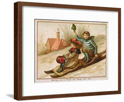 Young Girl and Boy Tobogganing, Victorian Christmas and New Year Card--Framed Art Print
