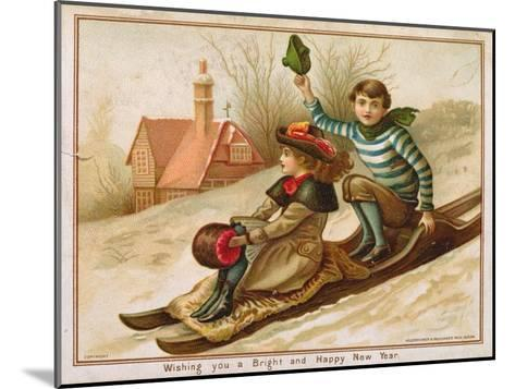 Young Girl and Boy Tobogganing, Victorian Christmas and New Year Card--Mounted Giclee Print