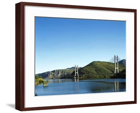Spain, Castile and Leon, Barrios De Luna Reservoir and Cable-Stayed Bridge--Framed Art Print