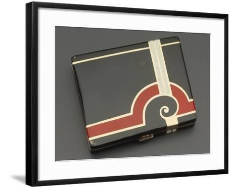 Embossed Silver Tiffany Cigarette Case with Gold Borders, 1930's Style--Framed Art Print
