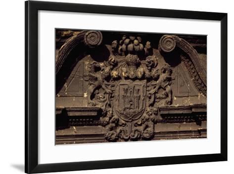 Coat of Arms on Building Overlooking Piazza to Alfonso II, Oviedo, Asturias, Spain--Framed Art Print