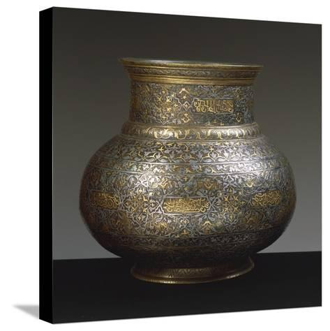 Brass Vase, Damascened with Gold and Silver Arabic and Persian Inscriptions, 15th-16th Century--Stretched Canvas Print