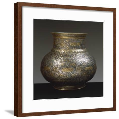 Brass Vase, Damascened with Gold and Silver Arabic and Persian Inscriptions, 15th-16th Century--Framed Art Print