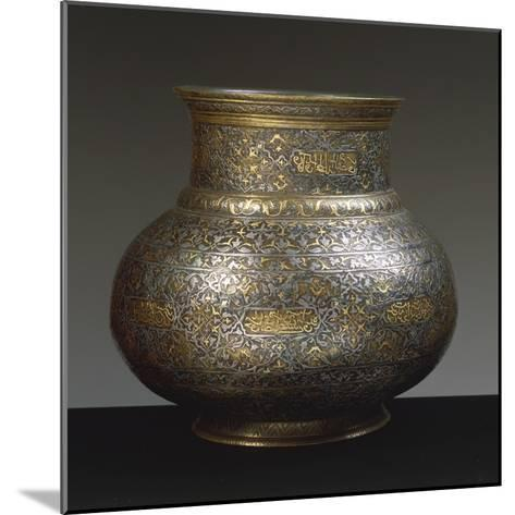 Brass Vase, Damascened with Gold and Silver Arabic and Persian Inscriptions, 15th-16th Century--Mounted Giclee Print