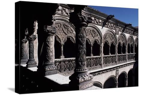 Patio of College of St Gregory, Valladolid, Castile and Leon, Detail, Spain--Stretched Canvas Print