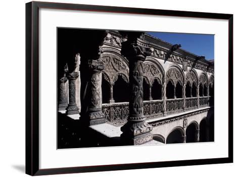 Patio of College of St Gregory, Valladolid, Castile and Leon, Detail, Spain--Framed Art Print