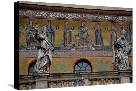 Mosaic on the Façade of St Maria in Trastevere: the Virgin and Child and Women Holding Lamps--Stretched Canvas Print