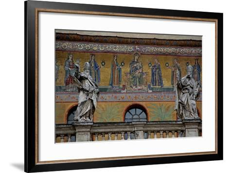 Mosaic on the Façade of St Maria in Trastevere: the Virgin and Child and Women Holding Lamps--Framed Art Print