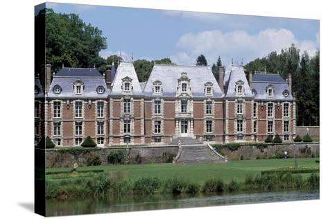 Park and Facade of Chateau De Suzanne, Picardy, France, 17th-19th Century--Stretched Canvas Print
