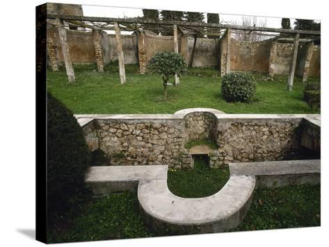 Italy, Pompeii, House of Julia Felix, Garden with Pool--Stretched Canvas Print