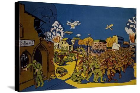 Russians Capturing German City of Elk in East Prussia, 1914, World War I, Poland--Stretched Canvas Print
