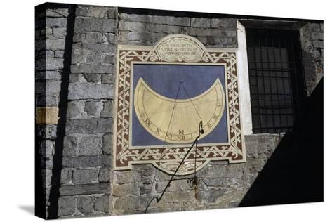 Sundial, Southern Facade of Church of Sant'Ambrogio, Omegna, Piedmont, Italy--Stretched Canvas Print