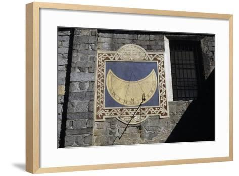 Sundial, Southern Facade of Church of Sant'Ambrogio, Omegna, Piedmont, Italy--Framed Art Print