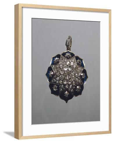 Enameled Gold and Diamonds Pendant--Framed Art Print