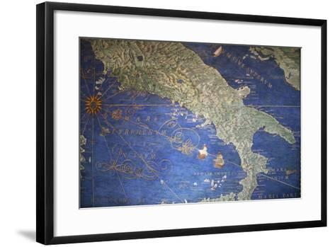 Vatican Museum: Map of Italy--Framed Art Print