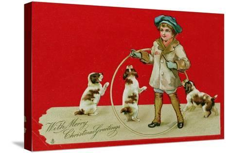 Boy with a Hoop, Victorian Card--Stretched Canvas Print