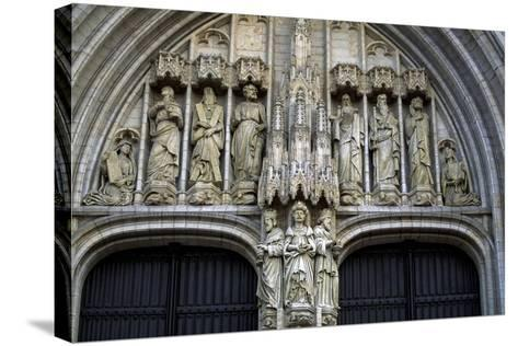 Door of Brabantine Gothic Style, St Michael and St Gudula Cathedral, Brussels, Detail, Belgium--Stretched Canvas Print