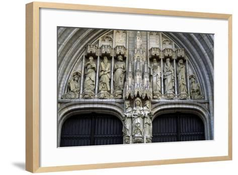 Door of Brabantine Gothic Style, St Michael and St Gudula Cathedral, Brussels, Detail, Belgium--Framed Art Print