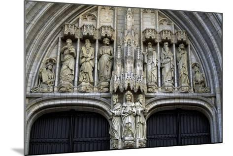 Door of Brabantine Gothic Style, St Michael and St Gudula Cathedral, Brussels, Detail, Belgium--Mounted Giclee Print