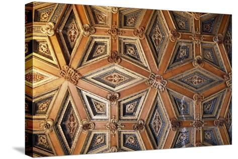 Coffered Wooden Ceiling in Golden Hall, Lapalisse Castle, Auvergne, Detail, France, 16th Century--Stretched Canvas Print