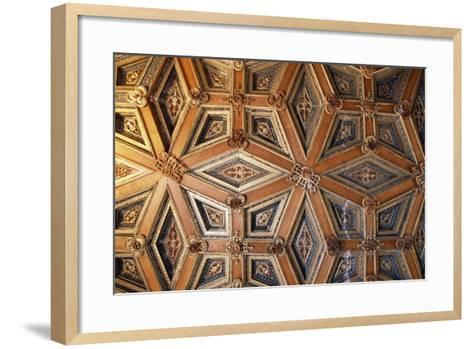 Coffered Wooden Ceiling in Golden Hall, Lapalisse Castle, Auvergne, Detail, France, 16th Century--Framed Art Print