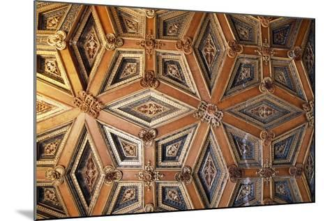 Coffered Wooden Ceiling in Golden Hall, Lapalisse Castle, Auvergne, Detail, France, 16th Century--Mounted Giclee Print