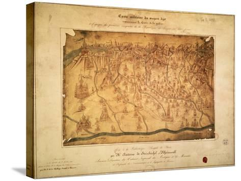 Military Map of Lombardy Parchment, 16th Century--Stretched Canvas Print