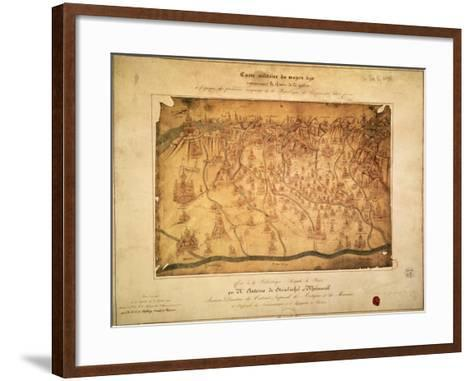 Military Map of Lombardy Parchment, 16th Century--Framed Art Print