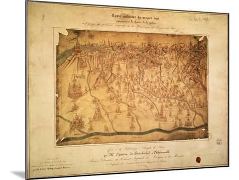 Military Map of Lombardy Parchment, 16th Century--Mounted Giclee Print