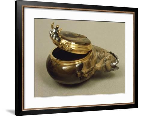 Agate Snuffbox in Shape of Ram's Head, with Gold Mount and Set with Rose-Cut Diamonds--Framed Art Print