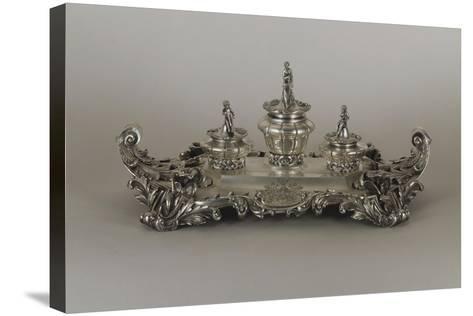 Silver Desk Set, Neo Rococo Style--Stretched Canvas Print