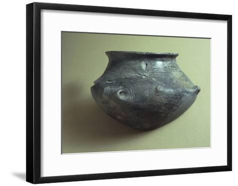 Biconical Ceramic Cinerary Urn Decorated with Incised Decoration--Framed Art Print