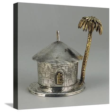 Silver, Similar Gold, Hut Shaped Bombonniere with Palm--Stretched Canvas Print