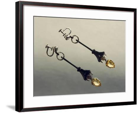Platinum Pendant Earrings with Yellow Sapphires, Cartier--Framed Art Print