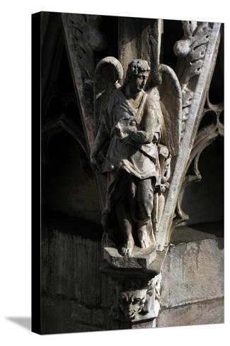 Italy, Milan, Cathedral, Gothic, Exterior, Detail, Facade, Angel--Stretched Canvas Print