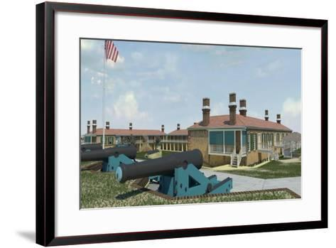 Computer Recreation of the Officers Quarters, Barracks, and Cannon, Prior to the American Civil War--Framed Art Print