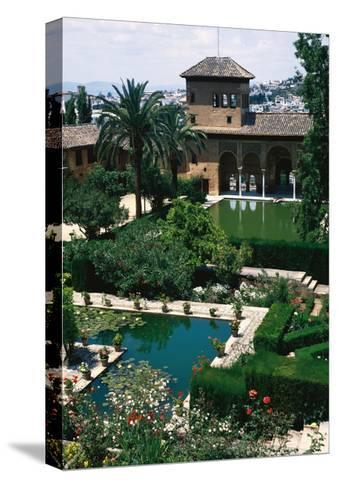 Spain. the Alhambra. Tower of the Ladies and Partal Gardens--Stretched Canvas Print