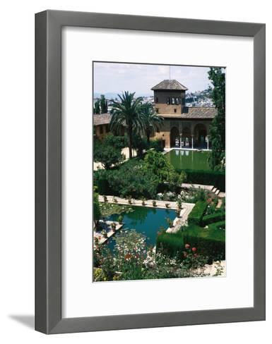 Spain. the Alhambra. Tower of the Ladies and Partal Gardens--Framed Art Print
