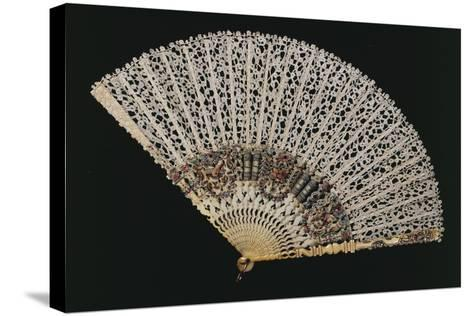 Fan with Bobbin Lace Page, Beginning 1700s, and Ribs of Later Period--Stretched Canvas Print